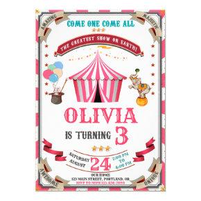 Circus birthday invitation Vintage Festival kids