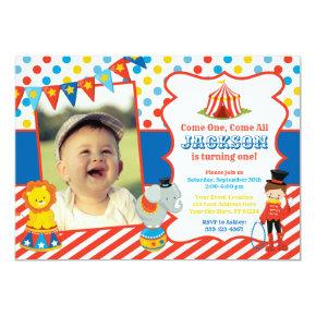 Circus Birthday Invitation with Photo