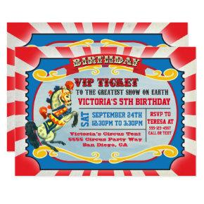 Circus Birthday Party VIP Ticket Invitations