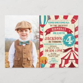 Circus Birthday Photo Invitation Carnival Invite
