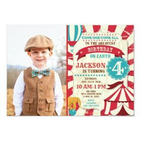 Circus Birthday Photo Invitation Carnival Invite