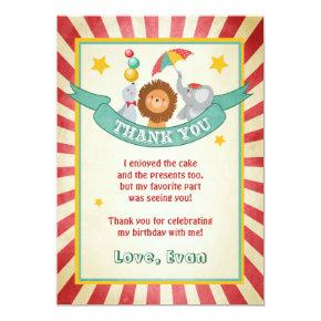 Circus birthday Thank you card Carnival Vintage