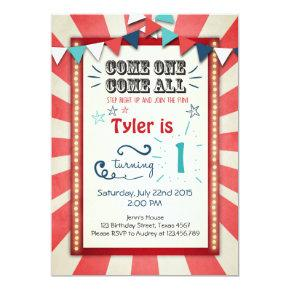 Circus carnival birthday Invitations