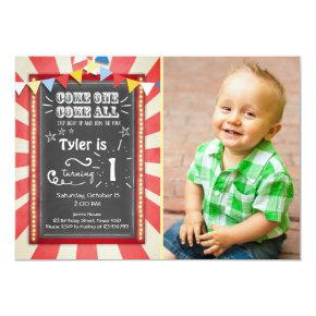 Circus carnival birthday invitation Big top Chalk