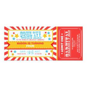 Circus carnival birthday invitation ticket Boy
