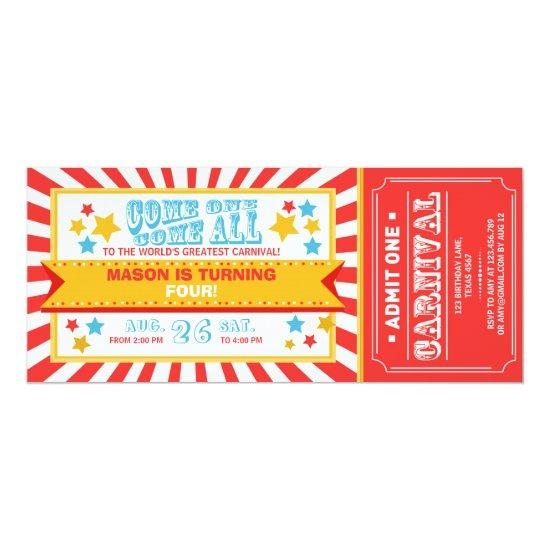 Circus carnival birthday invitation ticket Boy