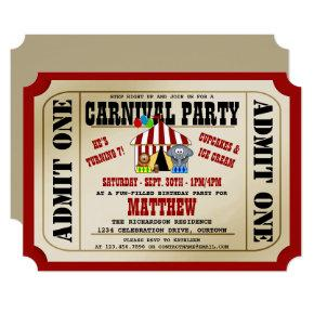 Circus Carnival Birthday Party Invitations