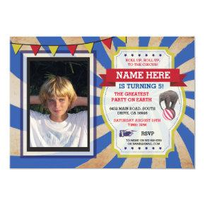Circus Carnival Birthday Party Photo Invitations
