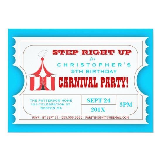 Circus Carnival Birthday Party Ticket Invitations