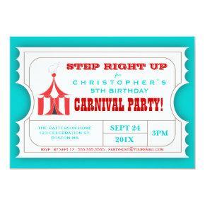 Circus Carnival Birthday Party Ticket Invitation