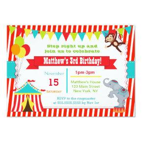 Circus Carnival Ticket Birthday Party Invitations