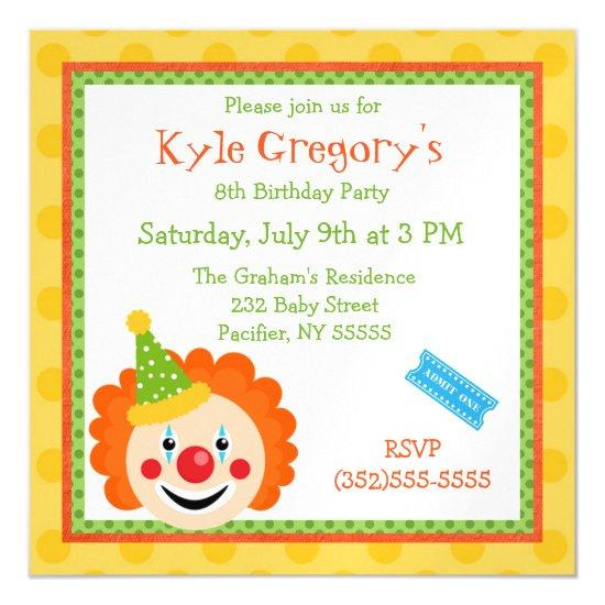 Circus Clown Boys Birthday Magnetic Invitations Candied Clouds