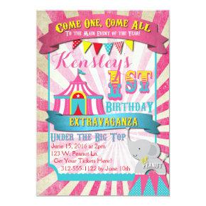 Circus Invitations Pink and Turquoise