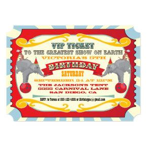 Circus or Carnival Ticket Birthday Invitation