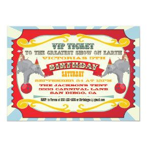 Circus or Carnival Ticket Birthday Invitations