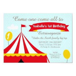 Circus Tent Birthday Party Invitation