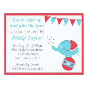 Circus Themed Birthday Party with Cute Elephant Invitations