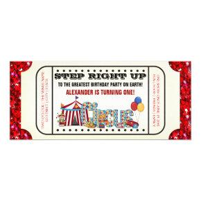 Circus Ticket Birthday Party Invitation
