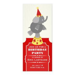 Circus Ticket Elephant Birthday Party Invitations