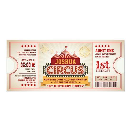 Circus Ticket First Birthday Invitation