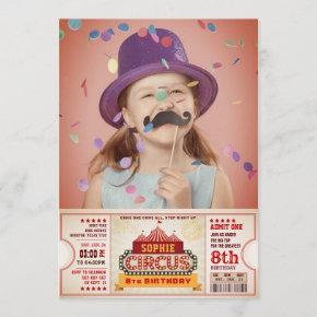 Circus Ticket Pass Photo Birthday Invitation