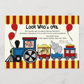 Circus Train Photo Invitation