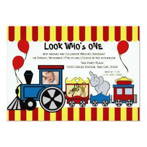 Circus Train Photo Invitation