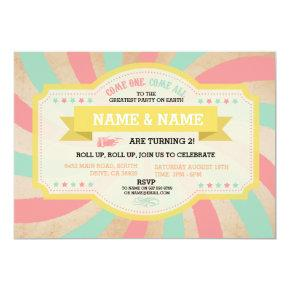 Circus Twins Birthday Mint & Coral Carnival Invite