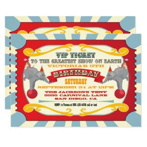 Circus VIP ticket birthday party Invitations