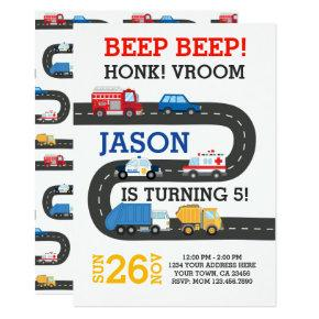 City Cars Invitation, 100% customizable Invitation