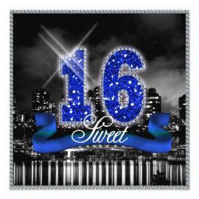 City Lights Sweet Sixteen Blue ID118 Invitation