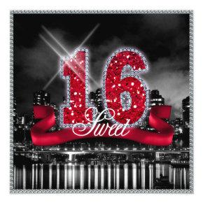 City Lights Sweet Sixteen Red ID242 Invitations