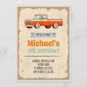 Classic car birthday theme invitation