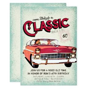 Classic Mid Century Car | Vintage 60th Birthday Invitations