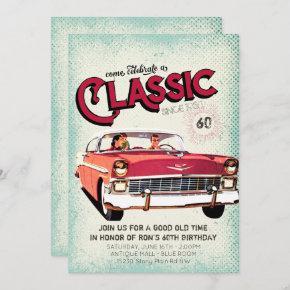 Classic Mid Century Car | Vintage 60th Birthday Invitation