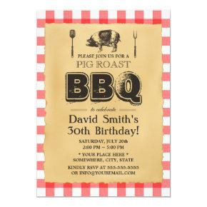 Classic Red Plaid Pig Roast BBQ Birthday Party Invitations