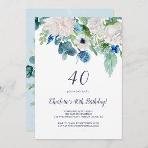 Classic White Flowers 40th Birthday Party Invitation