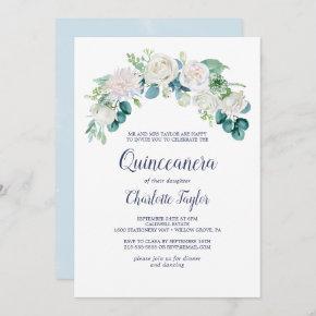 Classic White Flowers Quinceañera Invitation
