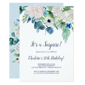 Classic White Flowers Surprise Party Invitation