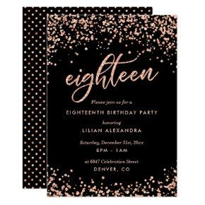 Classy 18th Birthday Invitations Rose Gold Confetti