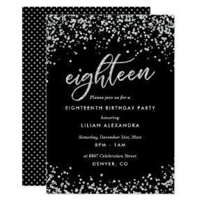 Classy 18th Birthday Invitation, Sparkly Confetti Invitation