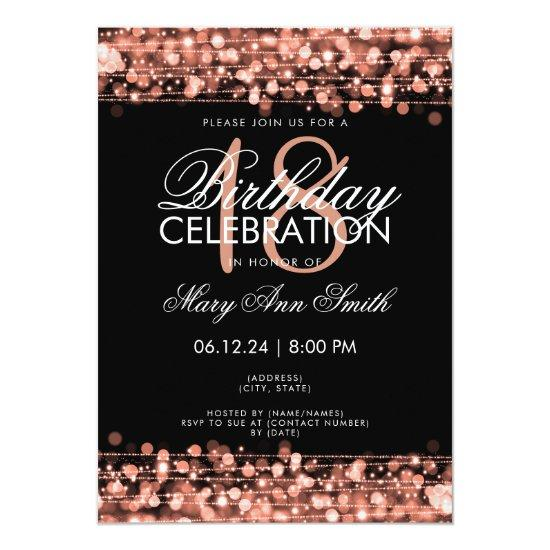 Classy 18th birthday party sparkles rose gold invitations candied classy 18th birthday party sparkles rose gold invitations filmwisefo
