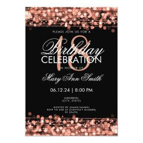 Classy 18th Birthday Party Sparkles Rose Gold Invitations