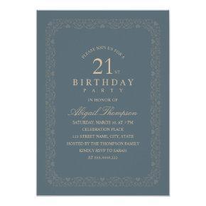 Classy Vintage 21st Birthday Party Elegant Simple Invitation