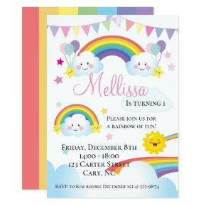 Cloud and Rainbow Children Birthday party Invitation