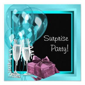 Cocktail Balloon Teal Blue Surprise Birthday Party Invitation