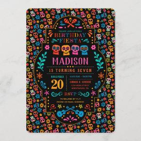 Coco Colorful Birthday Fiesta Invitation