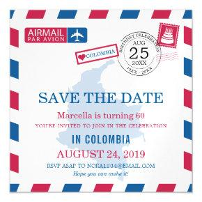 Colombia Airmail Birthday Celebration Magnetic Invitations