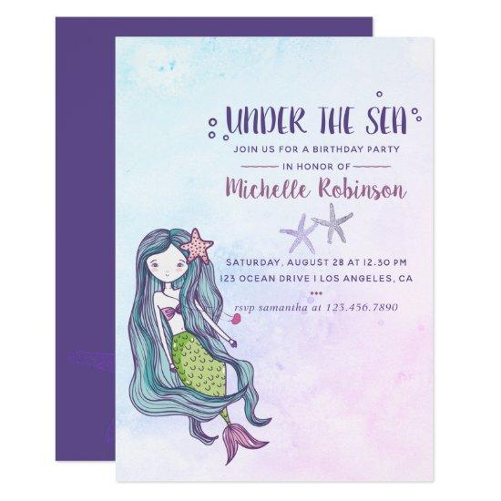 Color Trend Under The Sea Mermaid Themed Birthday Invitations