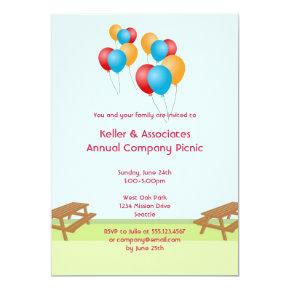 Colorful balloons summer picnic outdoor event invitation